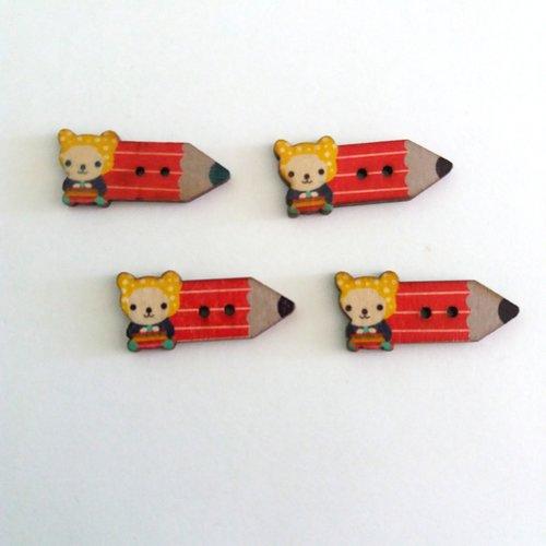 4 boutons fantaisies crayon en bois - rouge et jaune - 15x32mm - f7