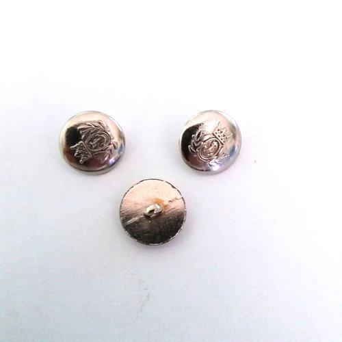 3 boutons en métal argenté - ancien - 15mm - 504mp