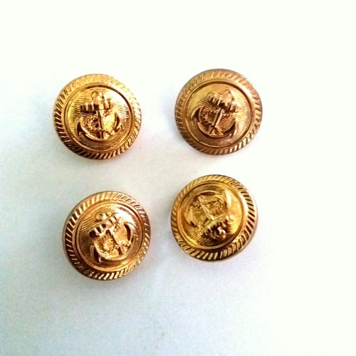 4 boutons en résine doré (une ancre) - ancien - 21mm - 522mp