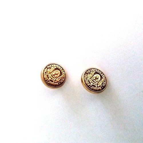 2 boutons en résine doré - ancien - 15mm - 528mp