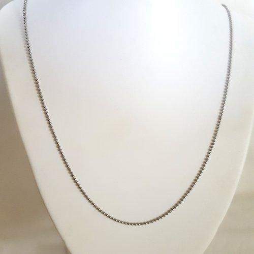 """1 collier / sautoir en acier inoxydable """"bille"""" - 60cm"""