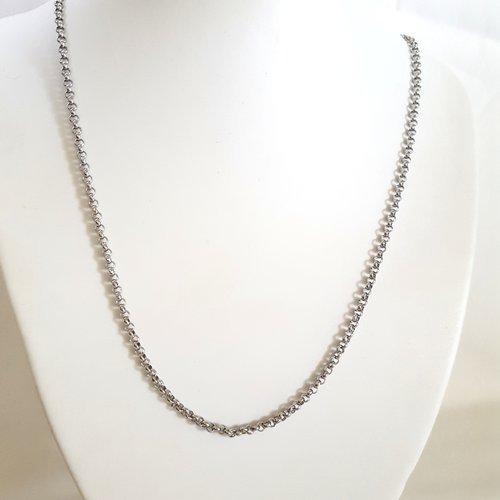 1 collier en acier inoxydable - maille fantaisie - 52cm