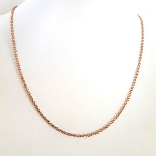 1 collier en acier inoxydable or rosé foncé - maille fantaisie - 45cm