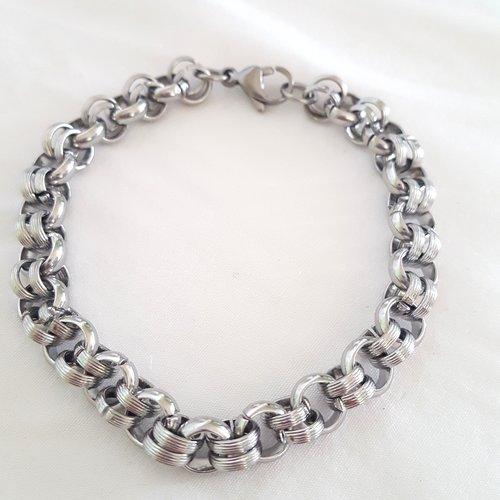 1 bracelet en acier inoxydable - maille fantaisie - 20cm