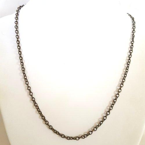 1 collier en fer , couleur bronze - maille fantaisie - 48cm