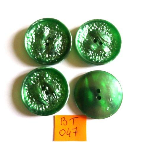 4 boutons en résine vert clair - vintage - 31mm - bt047