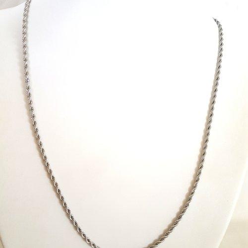 1 collier torsade en acier inoxydable - 53cm