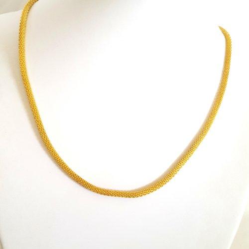 1 collier doré en fer - 46cm - grosse maille