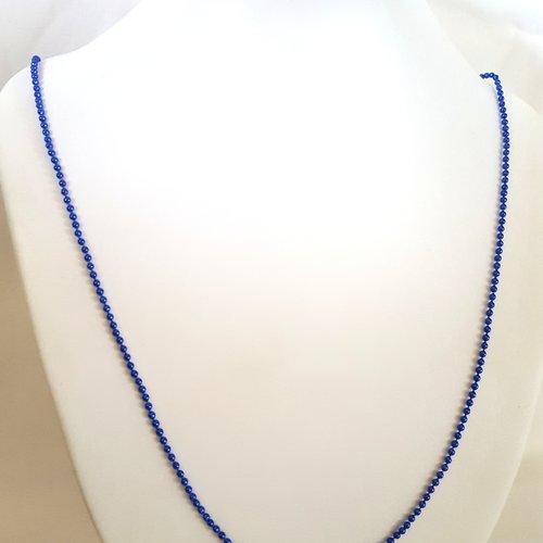1 collier / sautoir bleu metallisé en aluminium - 68cm - maille billes