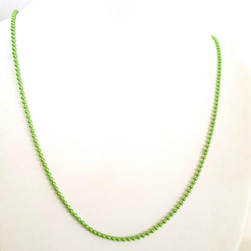 1 collier / sautoir vert metallisé en aluminium - 68cm - maille billes
