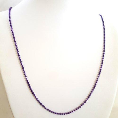 1 collier / sautoir violet en aluminium - 68cm - maille billes