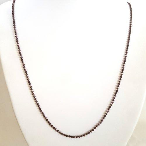 1 collier / sautoir marron en aluminium - 68cm - maille billes