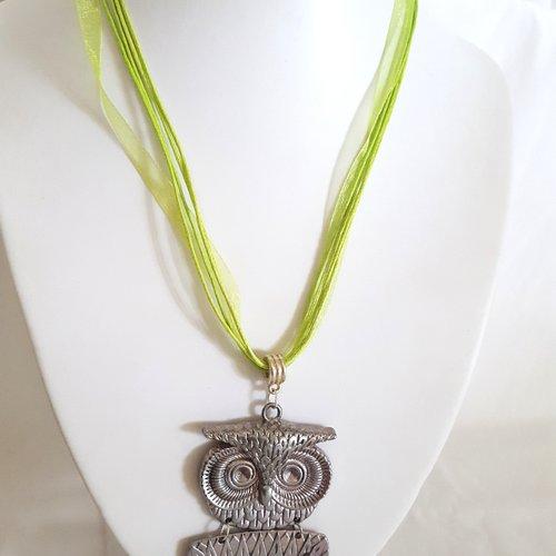 1 collier en coton et organza vert pomme - 46cm