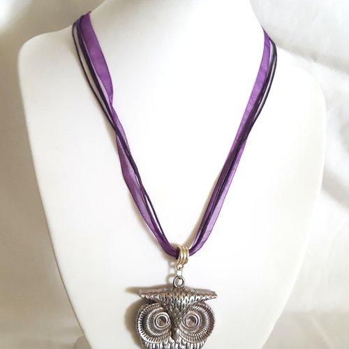1 collier en coton et organza violet - 46cm