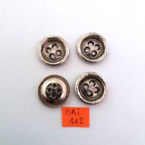 4 boutons en métal argenté -ancien - 22mm - bri112