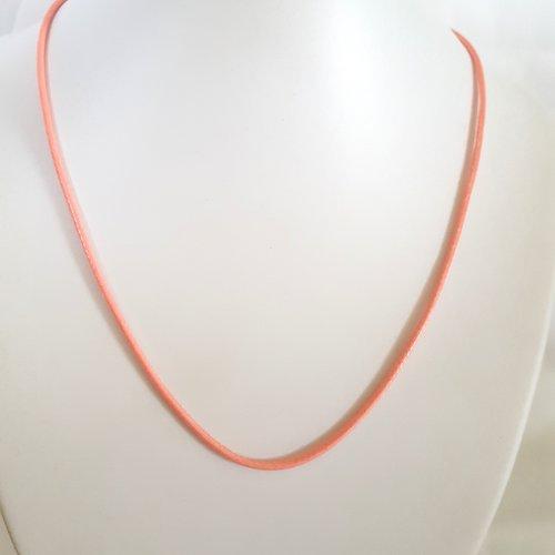 1 collier en coton ciré rose saumon - 45cm