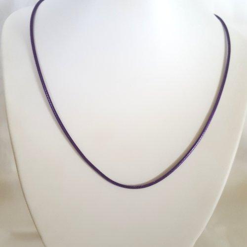 1 collier en coton ciré violet - 45cm