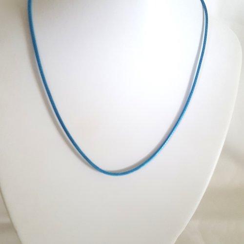 1 collier en coton ciré bleu turquoise - 45cm