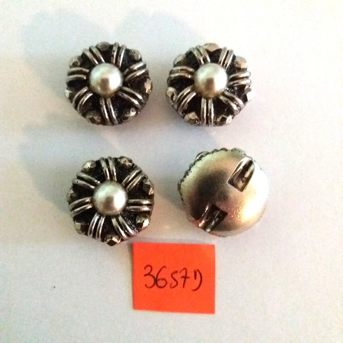 4 boutons en résine argenté avec un perle nacré - vintage - 21mm - 3657d