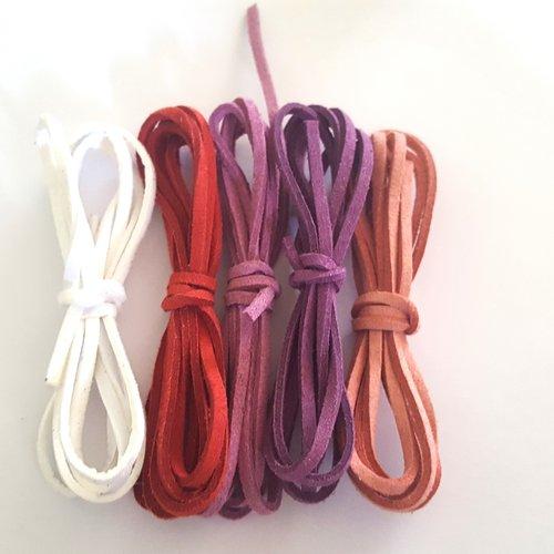5 x 1m de suédine ( blanc, rouge, lila, violet, vieux rose ) - 3mm - 1