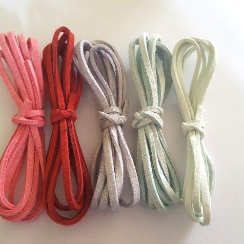 5 x 1m de suédine ( rouge, rose, vert d'eau, gris) - 3mm - 3