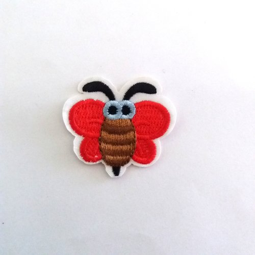 Thermocollant abeille rouge et marron  - 3,5x4cm - ecusson à coudre - 2