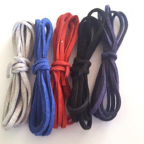 5 x 1m de suédine ( bleu x2, gris, rouge, noir ) - 3mm - 8