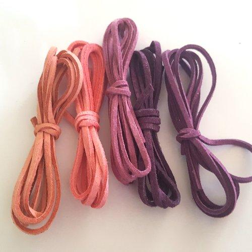 5 x 1m de suédine ( rose / violet ) - 3mm - 9