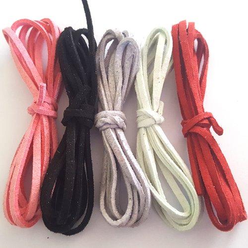 5 x 1m de suédine ( rouge, vert d'eau, gris, rouge, noir ) - 3mm - 10