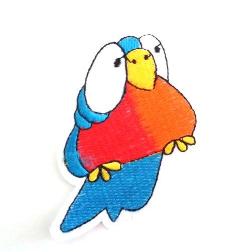 Thermocollant oiseau bleu et orange/rouge - 7,2x6,5cm - ecusson à coudre - 27