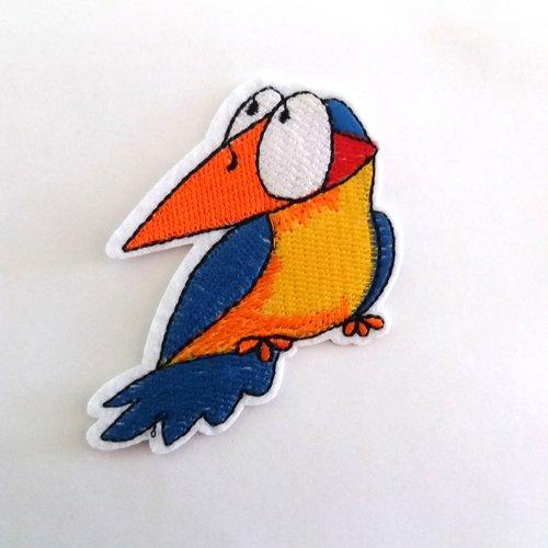 Thermocollant oiseau bleu et orange/jaune - 7x6,8cm - ecusson à coudre - 28