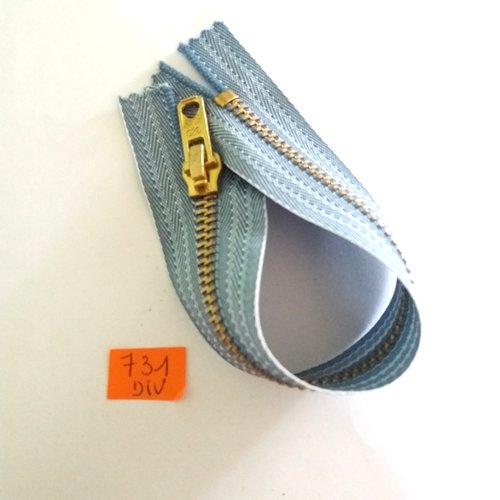 1 fermeture éclair spécial jean bleu - 18cm - non séparable - 731div