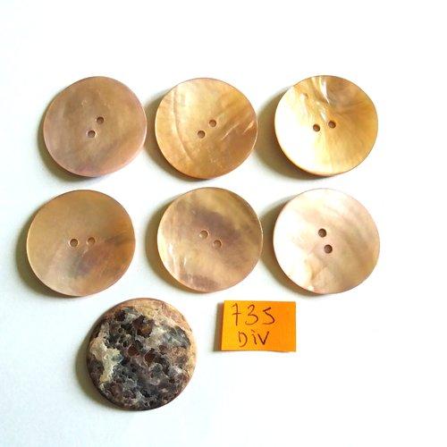 7 boutons en nacre rose - vintage - 28mm - 735div