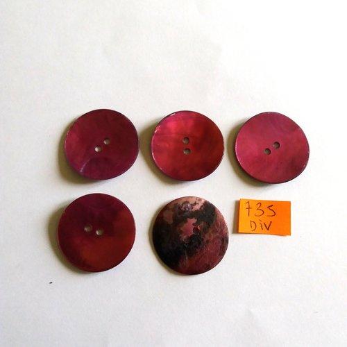 5 boutons en nacre violet - vintage - 28mm - 735div