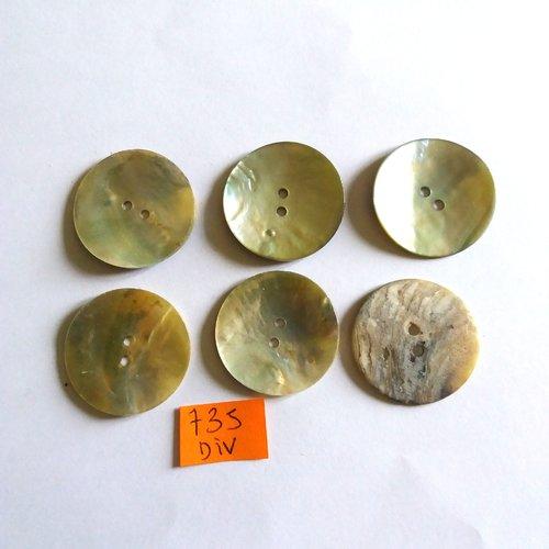 6 boutons en nacre reflet vert - vintage - 28mm - 735div