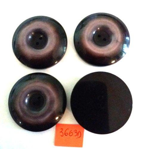4 boutons en résine mauve et noir - vintage - 40mm - 3663d