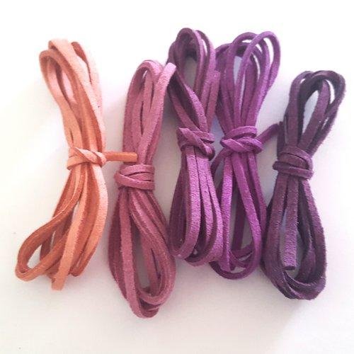 5 x 1m de suédine ( ton violet ) - 3mm – 14