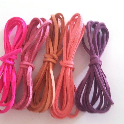 5 x 1m de suédine ( violet , rose ) - 3mm – 22