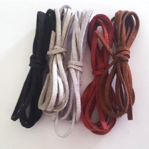 5 x 1m de suédine ( noir, gris, rouge, marron ) - 3mm – 25