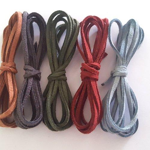 5 x 1m de suédine ( marron, gris, vert, rouge, bleu ) - 3mm – 28
