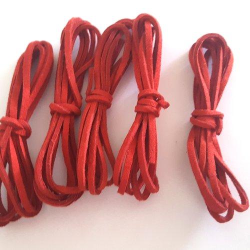 5 x 1m de suédine rouge - 3mm – 38