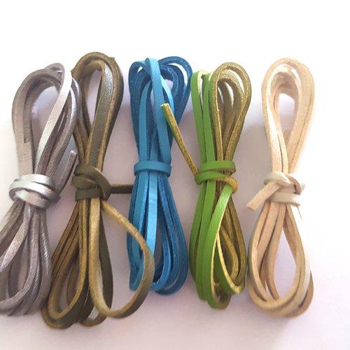 5 x 1m de suédine aspect cuir ( argenté, vert, bleu, beige ) - 3mm – 45