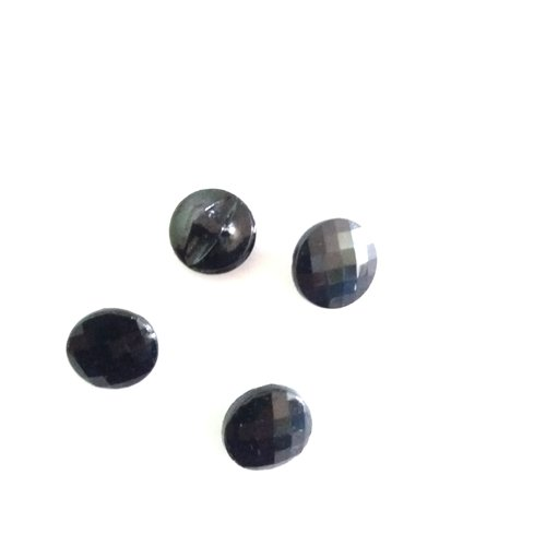 4 boutons en verre noir 17mm lot 179