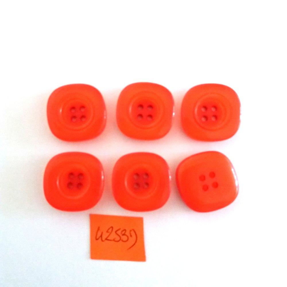 6 boutons en résine rouge/orange - vintage - 20x20mm - 4253D