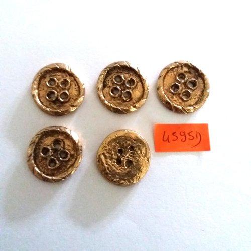 5 boutons métal doré N°124 29mm vintage