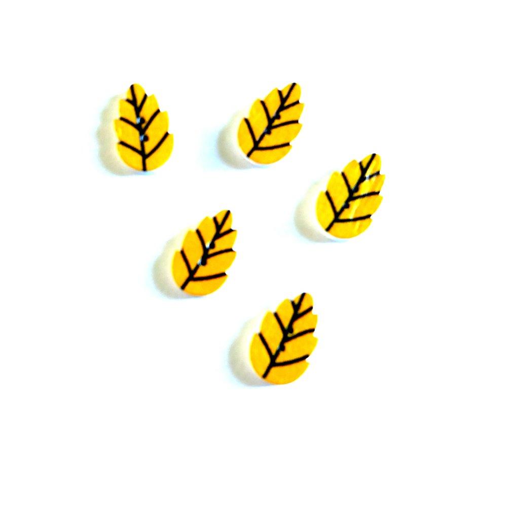 5 boutons fantaisies en bois feuille jaune et noir - 18x20mm
