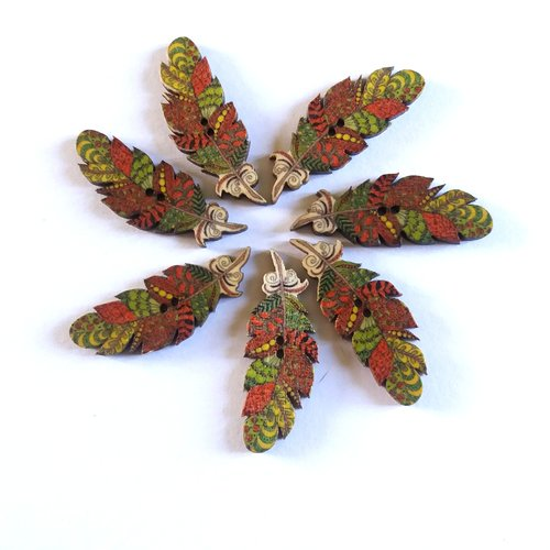LOT de 8 Boutons Bois Fantaisie Plume Feuille découpée ** 40 x 15 mm ** BBF33