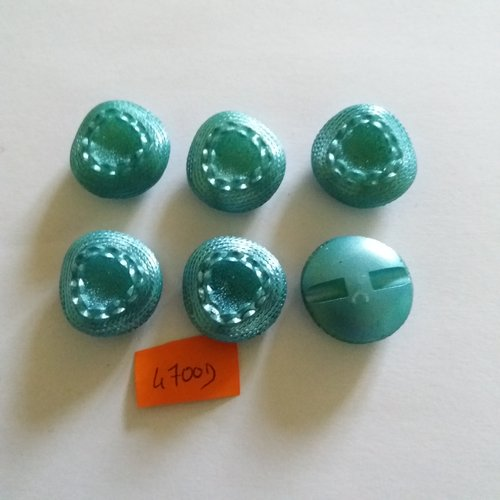 6 boutons en résine bleu - vintage - 24mm - 4700d
