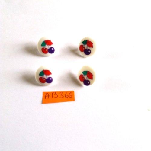 7 boutons en résine fond blanc avec cerise bleu rouge vert - 15mm - ab366