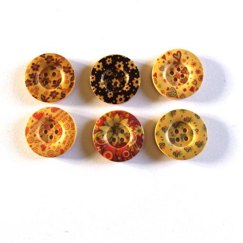 6 boutons fantaisies en bois multicolore - 25mm - 17